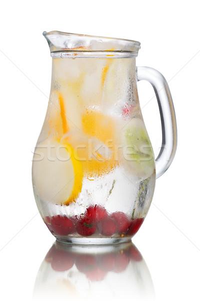 Jarra agua vidrio casero cerezas Foto stock © maxsol7