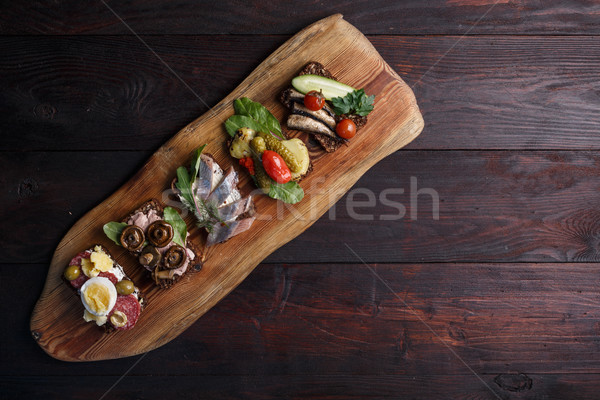Smorrebrod-open sandwiches Stock photo © maxsol7