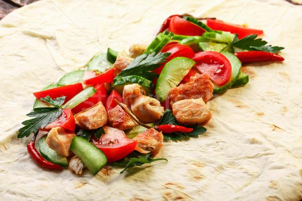 Tradizionale pollo verdura tavola cena pranzo Foto d'archivio © maxsol7