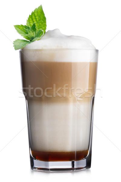 Kávé koktél üveg csokoládé szirup hab díszített Stock fotó © maxsol7