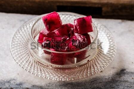 Fagyott hibiszkusz tea piros fa asztal virág Stock fotó © maxsol7