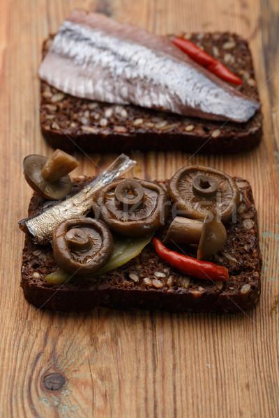 Open sandwiches or smorrebrod Stock photo © maxsol7