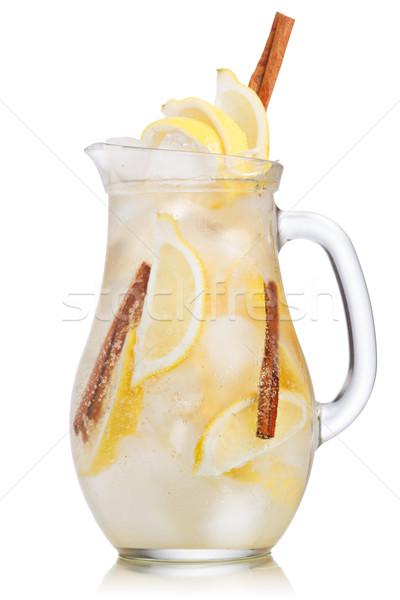 Citrom fahéj limonádé kancsó pezsgő szénsavas Stock fotó © maxsol7