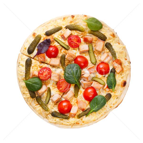 Pizza top view Stock photo © maxsol7