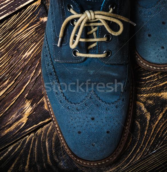 Mavi ayakkabı zemin makro Stok fotoğraf © maxsol7