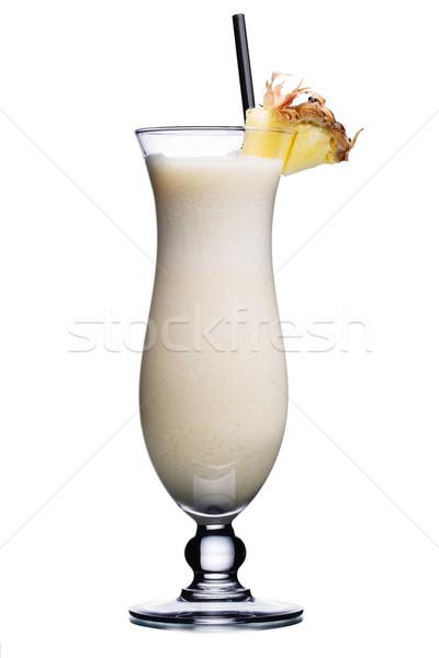 Kokteyl kasırga cam dekore edilmiş ananas dilim Stok fotoğraf © maxsol7