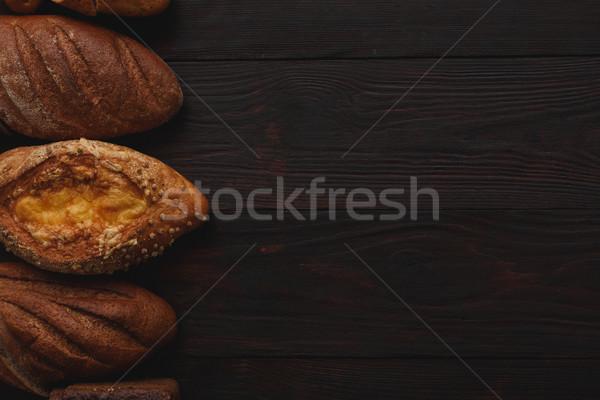 Különböző teljes kiőrlésű fa asztal fölött kilátás asztal Stock fotó © maxsol7