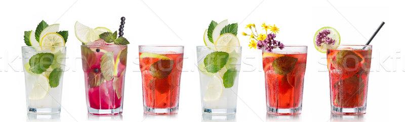 Mojito cocktails conjunto coleção vidro folhas Foto stock © maxsol7