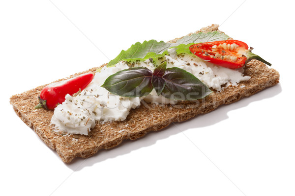 Bread crisp with pepper,soft  cheese and basil Stock photo © maxsol7