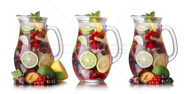 Szett gyűjtemény bogyó üveg gyümölcsök előtér Stock fotó © maxsol7