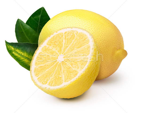Lemons with leaves isolated Stock photo © maxsol7