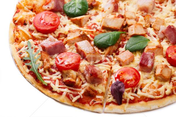 Pizza slice pizza tomaten vlees Stockfoto © maxsol7