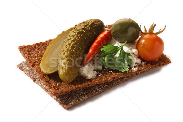 Bread crisp with pickles and soft cheese Stock photo © maxsol7