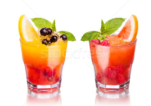Kokteyller iki yaz yalıtılmış beyaz meyve Stok fotoğraf © maxsol7