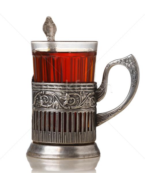 Chá vidro vintage retro branco Foto stock © maxsol7
