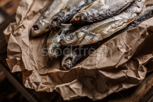 Gedroogd vis houten tafel selectieve aandacht smal Stockfoto © maxsol7