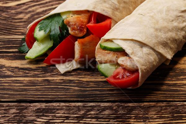 Traditioneel kip groenten houten tafel tabel Stockfoto © maxsol7