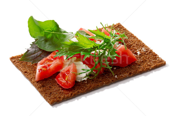 Bread crisp with tomato, soft cheese and greens Stock photo © maxsol7