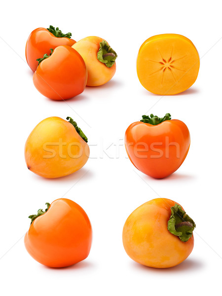 Persimmons isolated set Stock photo © maxsol7