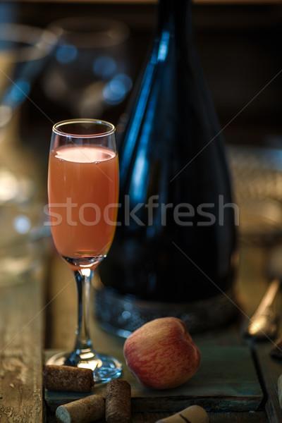 Kokteyl ünlü İtalyan pembe şeftali resmi Stok fotoğraf © maxsol7