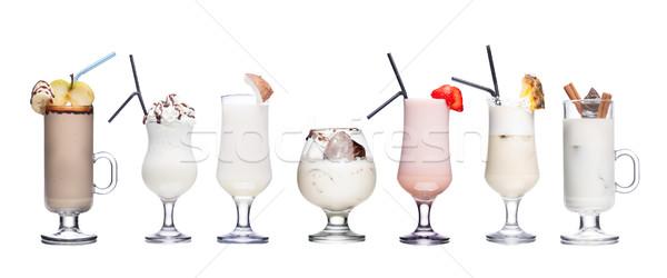 Leite cocktails coleção isolado branco comida Foto stock © maxsol7