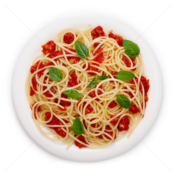 спагетти соус болоньезе бесконечный продовольствие листьев пластина Сток-фото © maxsol7
