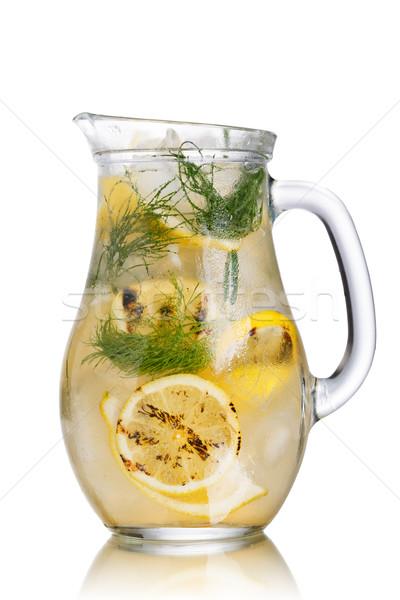 Grillezett citrom detoxikáló víz szénsavas jeges Stock fotó © maxsol7