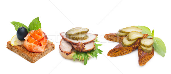 Canapes isolated on white Stock photo © maxsol7