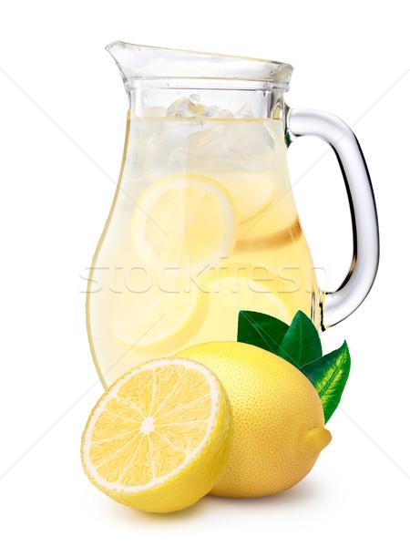 Gelado limonada limões jarro primeiro plano grande Foto stock © maxsol7