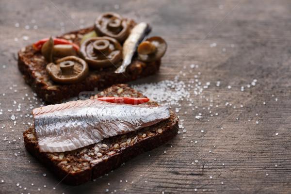 Open sandwich or smorrebrod Stock photo © maxsol7