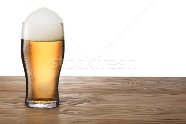 Glas houten tafel vochtig schuim bar Stockfoto © maxsol7