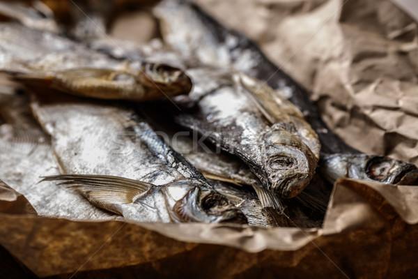 Hal aszalt fa asztal szelektív fókusz keskeny étel Stock fotó © maxsol7