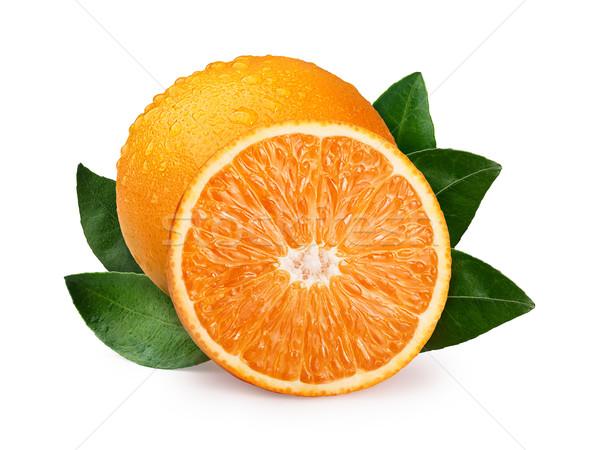 Geheel half oranje gedekt druppels bladeren Stockfoto © maxsol7
