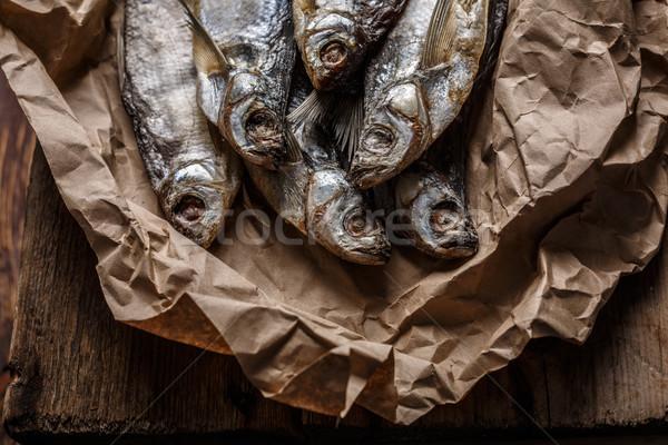 Secas peixe mesa de madeira foco estreito Foto stock © maxsol7