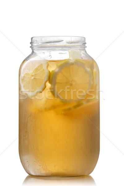 Ice tea bögre édes jeges zöld tea citrom Stock fotó © maxsol7