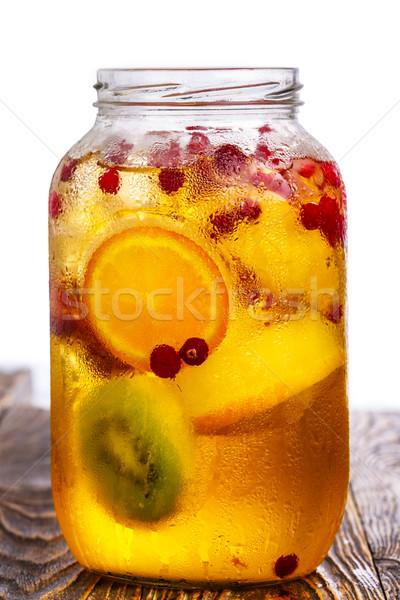 üveg bögre házi készítésű szénsavas almalé felszolgált Stock fotó © maxsol7
