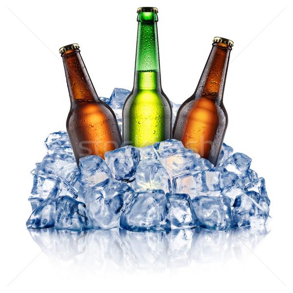 Três resfriamento cerveja garrafas verde marrom Foto stock © maxsol7