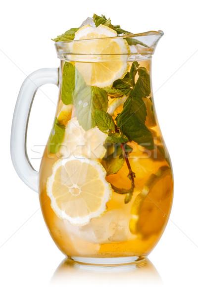 Ice tea édes citrom menta üveg fehér Stock fotó © maxsol7
