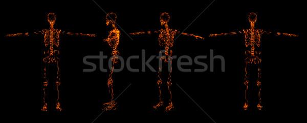Fogo esqueleto abstrato corpo saúde fumar Foto stock © maya2008