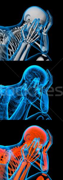 3d render witte skelet vergadering schedel spier Stockfoto © maya2008