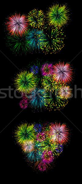 Fogos de artifício escuro discoteca inverno cor cartão Foto stock © maya2008