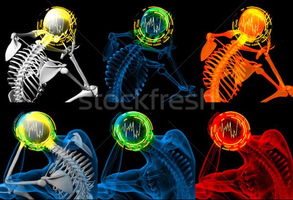 3d render skelet vergadering lichaam onderwijs geneeskunde Stockfoto © maya2008