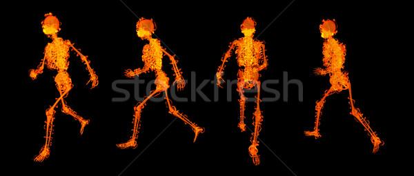 3d render lopen skelet Rood brand medische Stockfoto © maya2008