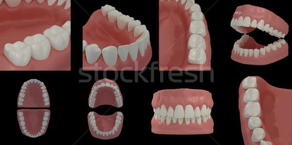 Rendering 3d denti nero sorriso corpo sfondo Foto d'archivio © maya2008