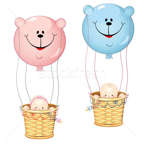 Kinderen ballon teddyberen vorm geïsoleerd witte Stockfoto © Mayamy
