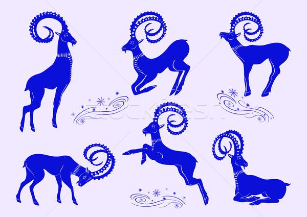 Ingesteld Blauw berg geiten collectie gestileerde Stockfoto © Mayamy