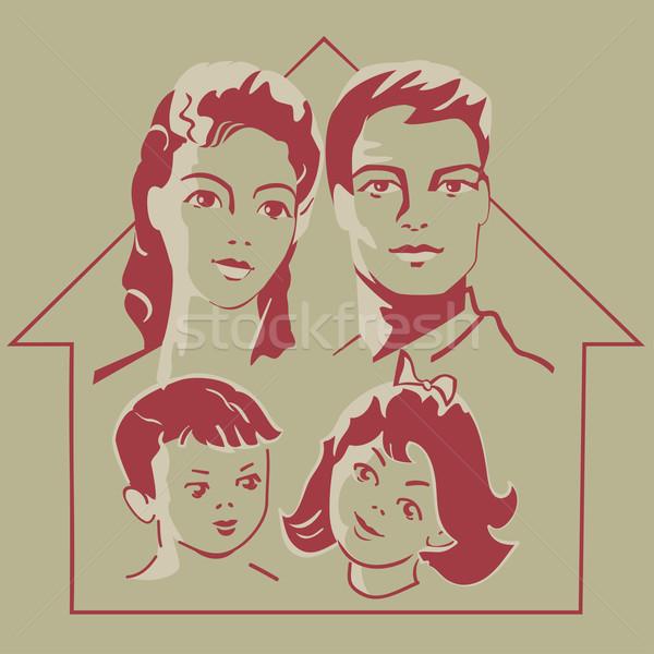 Familie ouders kinderen gezicht retro-stijl kan Stockfoto © Mayamy