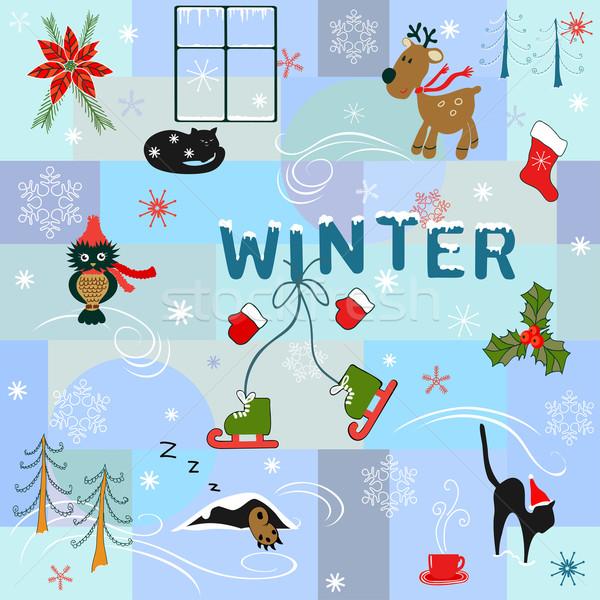 Grappig winter heldere communie natuur lifestyle Stockfoto © Mayamy