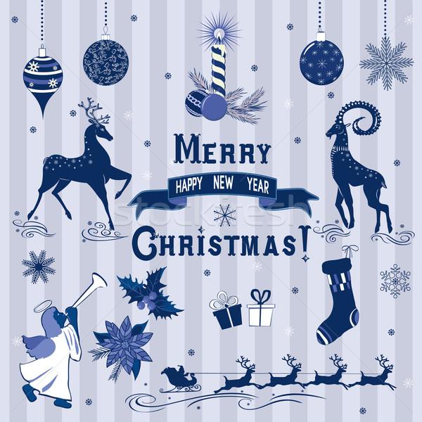 Blauw christmas decoraties ingesteld communie ontwerp Stockfoto © Mayamy