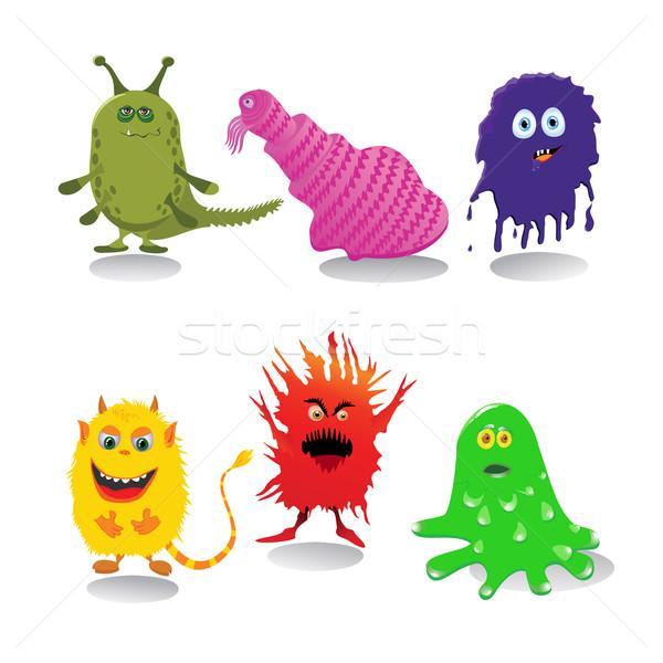 Ingesteld cute cartoon monsters geïsoleerd witte Stockfoto © Mayamy